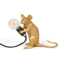 Seletti Mouse Lamp Sitting Tischleuchte Gold