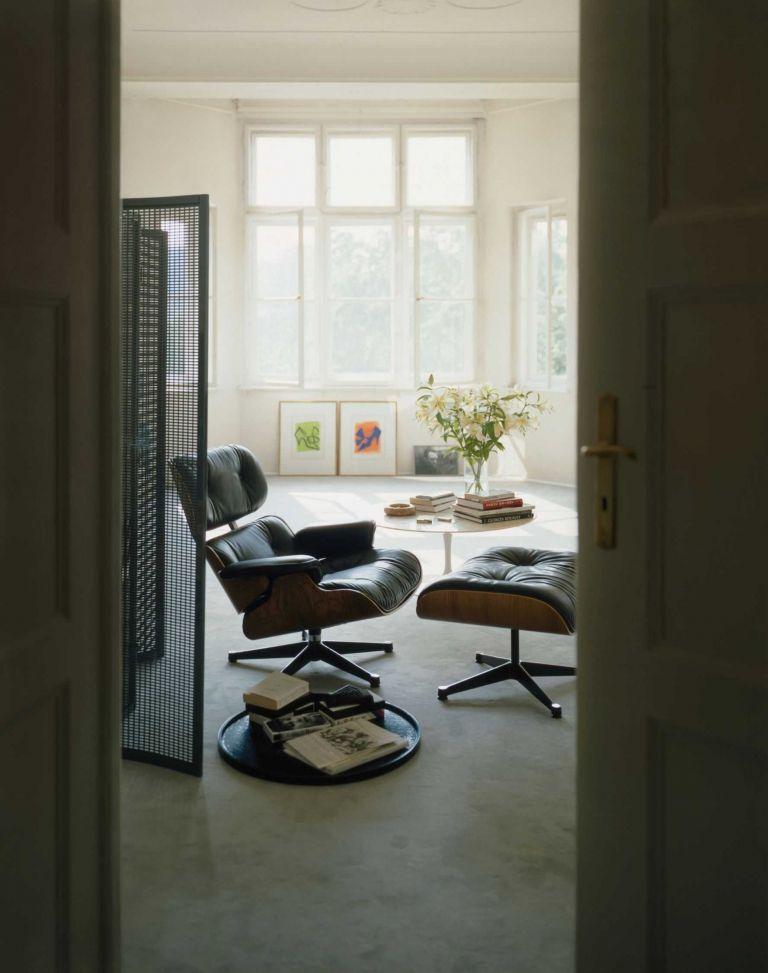 Vitra Ottoman für Lounge Chair Schwarz